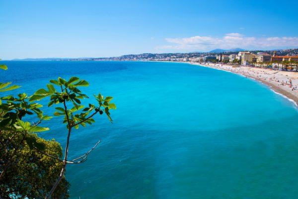 Nice, beautiful beach, French Riviera, Cote d'Azur or Coast of Azure.